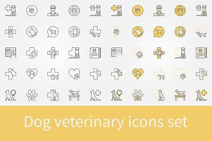 Dog veterinary icons set
