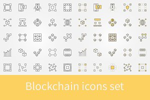 Blockchain icons set