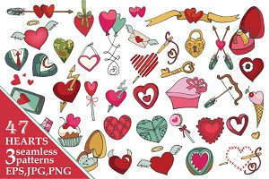 Valentine's day heartsdecor.Big pack