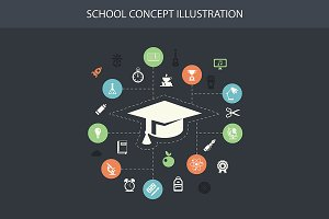 School Composition With Icons