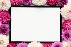 Styled stock photo - flowers & frame