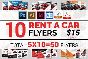 10 Rent A Car Flyers Bundle 90% OFF