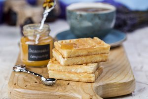 Belgian waffles with orange marmalade