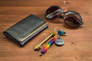 black women's purse on a wooden background