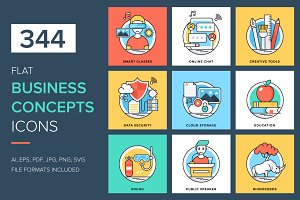 344 Flat Business Concepts Icons