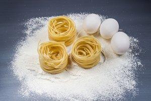 Eggs, flour and fettuccine