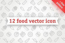 Food vector icons. Free Pattern!