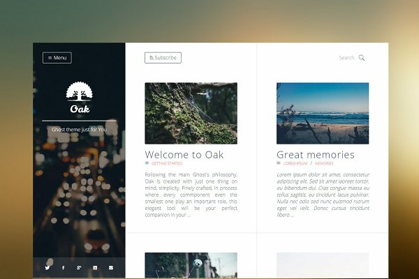 Ghost Themes: Stefan - Oak - Clean & Responsive Ghost Theme