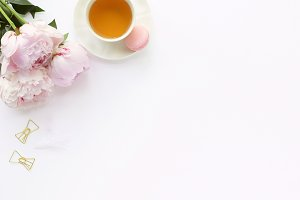 Styled photo - tea & peonies