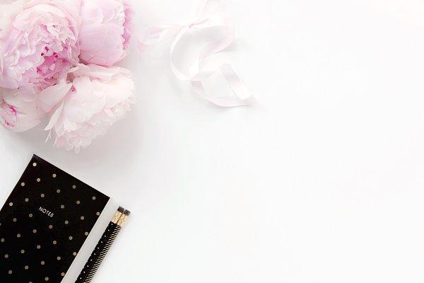 Styled stock photo - peonies & blac…