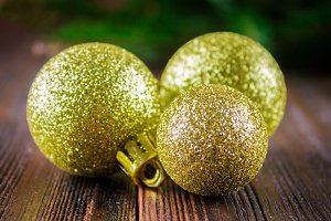 toy balls on the background of Christmas tree branches