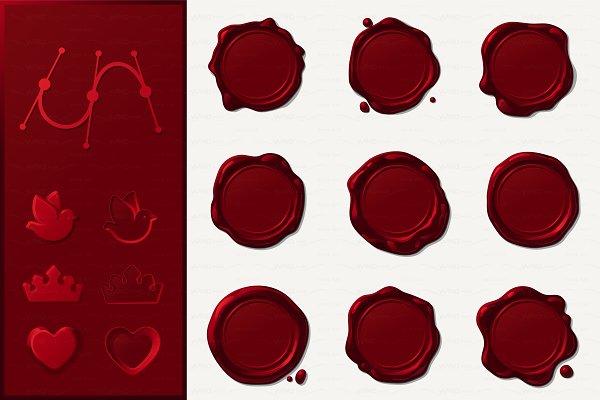 ♥ vector Wax seals SET
