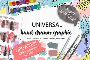 Universal hand drawn graphic bundle.
