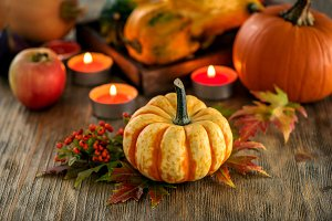 Autumn table decoration with pumpkin