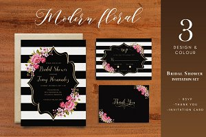 Modern Floral Bridal Shower Invite