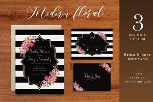 Modern Floral Bridal Shower Invite