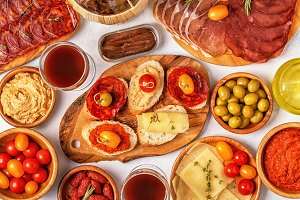 Typical spanish tapas concept
