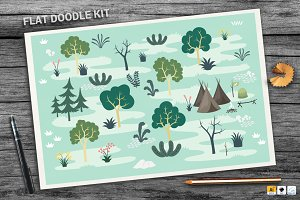 Forest Flat Doodle Kit + BONUS