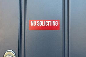 No Soliciting Sign on Front Door