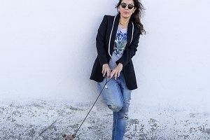 Woman with italian greyhound dog