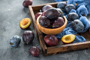 Plums, healthy autumn fruit