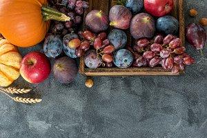 Autumn harvest, fruit and vegetables