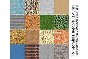 16 Seamless Tileable Textures