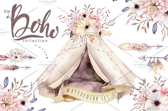 Watercolor boho collection