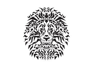 Line art of lion head