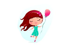 Vector illustration of happy little girl with pink balloon