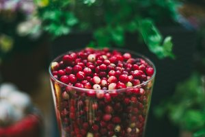 Red cranberries in glass