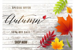 Vector illustration of fashion autumn sale banner