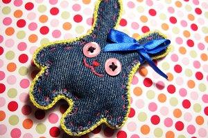 Hand made jeans denim rabbit hare macro photo