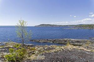 The stony shore of the Ladoga Lake