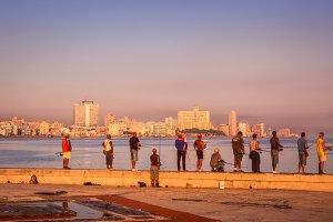 Cubans fishing on Malecon