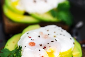 Toasts with avocado and eggs