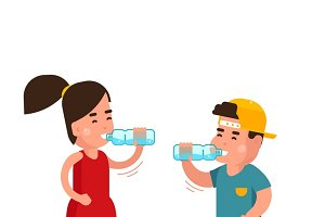 Little boy and girl drinks water
