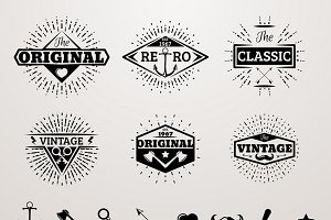 Vintage insignia set with star burst