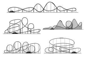 Roller coaster vector silhouettes