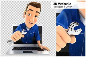 3D Mechanic Coming Out of Laptop