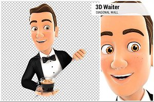 3D Waiter Behind Diagonal Wall