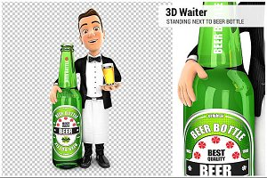 3D Waiter Beer Bottle