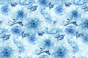 Blue cherry sakura flower floral blue digital art seamless pattern texture background