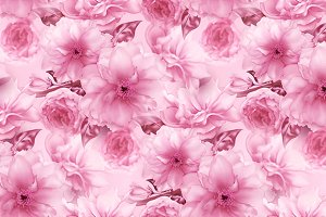 Pink cherry sakura flower floral blue digital art seamless pattern texture background
