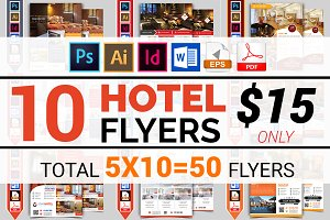 10 Hotel Flyers Bundle 90% OFF