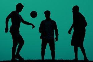 Sunset Soccer on green background