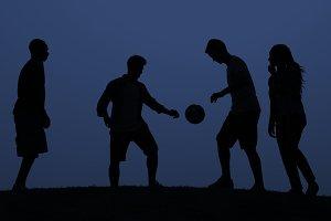 Sunset Soccer on blue background