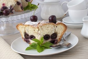 Pieces of sponge cake with cherries