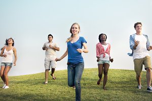 Group Casual People Running Outdoors