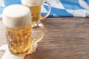 Oktoberfest Beer on Wood with Flag